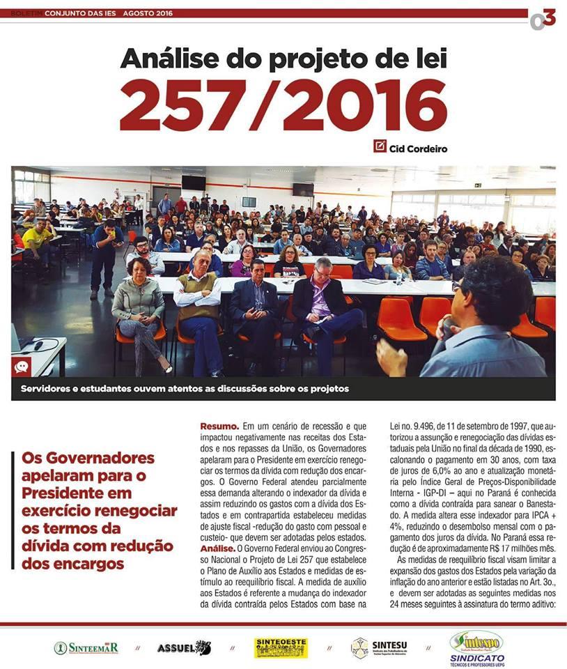 "JORNAL ""CONJUNTO DAS IEES"" está sendo distribuído pelo SINTESPO"