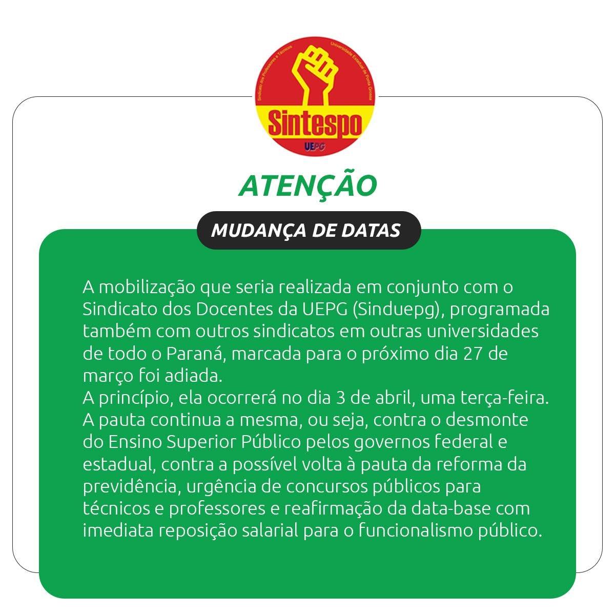 MOBILIZAÇÃO DIA 03 DE ABRIL